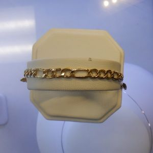 14k solid yellow stamped Figaro bracelet (NEW)